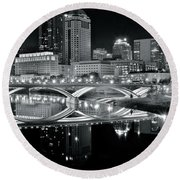 Columbus Ohio Black And White Round Beach Towel