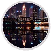 Columbus Ohio Reflecting On The River Round Beach Towel