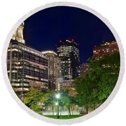 Columbus Park Boston View Round Beach Towel