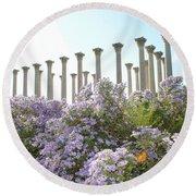 Column Flowers To The Sky Round Beach Towel