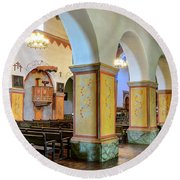 Columns At San Juan Bautista Mission Round Beach Towel