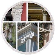 Columns Of New Orleans Collage Round Beach Towel