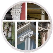 Columns Of New Orleans Collage Round Beach Towel
