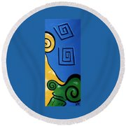 Columns Right Side Round Beach Towel