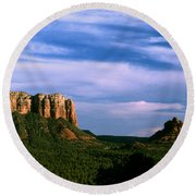 Colurt House Butte And Bell Rock Round Beach Towel