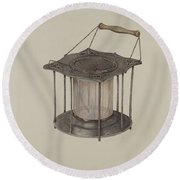 Combined Stove And Lantern Round Beach Towel