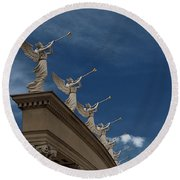 Come Blow Your Horn - Angels And Trumpets - Caesars Palace Las Vegas Round Beach Towel