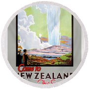 Come To New Zealand Vintage Travel Poster Round Beach Towel