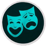 Comedy N Tragedy Aquamarine Round Beach Towel