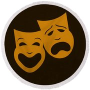 Comedy N Tragedy Black Orange Round Beach Towel