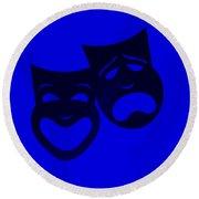 Comedy N Tragedy Blue Round Beach Towel