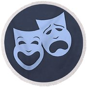 Comedy N Tragedy Cyan Round Beach Towel