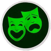 Comedy N Tragedy Green Round Beach Towel