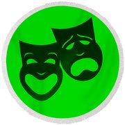 Comedy N Tragedy Neg Green Round Beach Towel