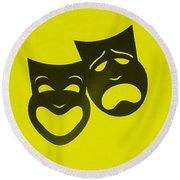Comedy N Tragedy Neg Yellow Round Beach Towel