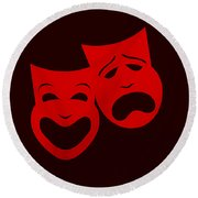 Comedy N Tragedy Red Round Beach Towel