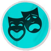 Comedy N Tragedy Turquoise Round Beach Towel