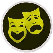 Comedy N Tragedy Yellow Round Beach Towel