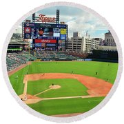 Comerica Park, Home Of The Detroit Tigers Round Beach Towel