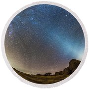 Comet Lovejoy And Zodiacal Light Round Beach Towel