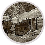 Comfort Station Sepia Round Beach Towel