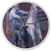 Comin At Ya      Calf Roping Painting Round Beach Towel
