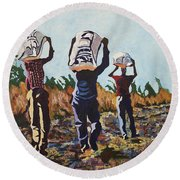 Coming From The Fields Round Beach Towel