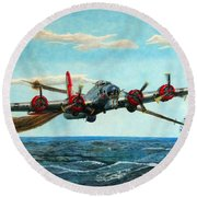 Coming Home - Boeing B-17 Flying Fortress V2 Round Beach Towel