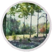 Coming Out Of The Woods Round Beach Towel
