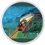 Coming Through The Tunnel Round Beach Towel