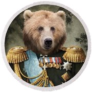 Commander Bear Round Beach Towel