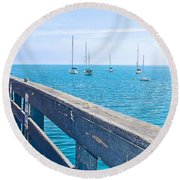 Commercial Pier On Monterey Bay-california  Round Beach Towel