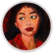 Commission Montreal Portrait Artist Classically Trained Round Beach Towel