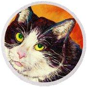 Commission Your Pets Portrait By Artist Carole Spandau Bfa Ecole Des Beaux Arts  Round Beach Towel
