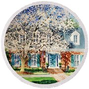 Commissioned House Portrait  Round Beach Towel
