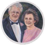 Commissioned Portrait Painting Round Beach Towel