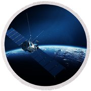 Communications Satellite Orbiting Earth Round Beach Towel