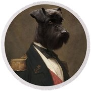 Sir Schnauzer The Magnificent Round Beach Towel