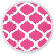 Compact Marrakesh With Border In French Pink Round Beach Towel