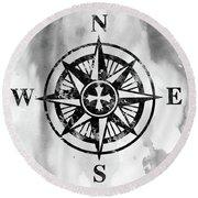 Compass-black Round Beach Towel