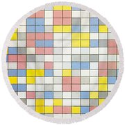 Composition With Grid Ix Round Beach Towel