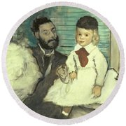 Comte Le Pic And His Sons Round Beach Towel by Edgar Degas