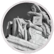 Comtemplation Of Justice 1 Bw Round Beach Towel