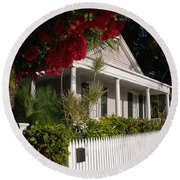 Conch House In Key West Round Beach Towel by Susanne Van Hulst