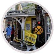 Conch Tour Train Stop Round Beach Towel