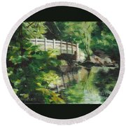Concord River Bridge Round Beach Towel