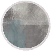 Concrete 3- Contemporary Abstract Art By Linda Woods Round Beach Towel
