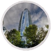 Condominiums Along Waterfront In Vancouver Bc Round Beach Towel