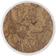 Cone Flowers And Daylily Round Beach Towel