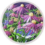 Coneflowers In Gentle Wind Round Beach Towel